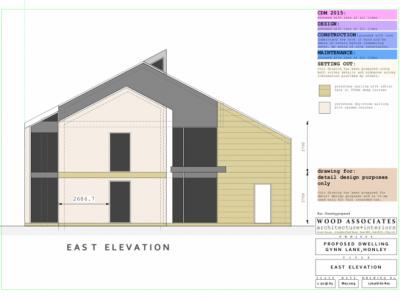 Gynn Lane, Honley: new home East elevations
